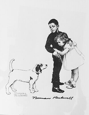 $ CDN366.68 • Buy Norman Rockwell Hand Signed 11 X 14  B & W - Print Boy,dog,girl