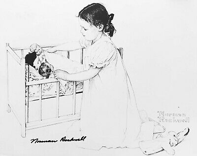 $ CDN266.68 • Buy Norman Rockwell Hand Signed 11 X 14  B & W - Print - Girl & Baby
