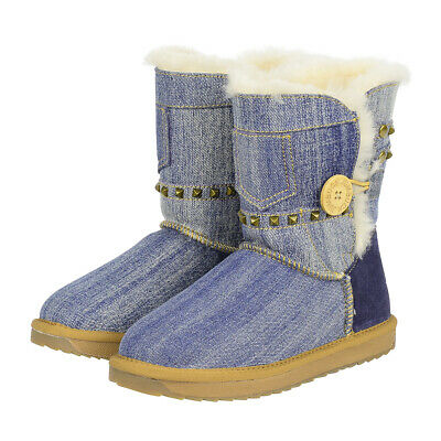 AU71 • Buy UGG Boots Denim Button Boots 3/4 Short Australian Genuine Sheepskin