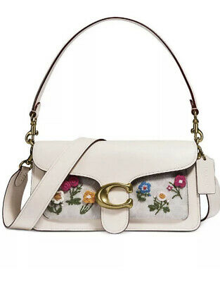 ❤️ Coach Tabby Chalk Shoulder Bag 26 In Signature Canvas With Floral Embroidery • 286.10£