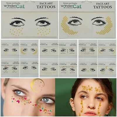 Face Tattoo Sticker Gems Adhesive Glitter Jewel Festival Rave Party Body Make Up • 1.39£