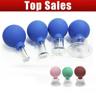 Set 4 Cups Anti-Cellulite Facial Cosmetic Cupping Massage Vacuum Glass Cups UK • 14.91£