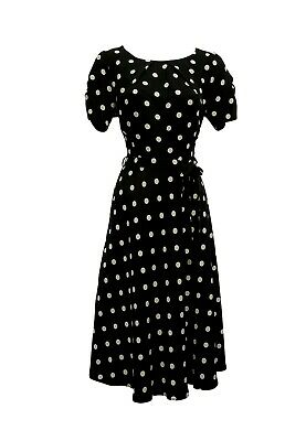 £32.99 • Buy New  Black And Beige Polka Dot WWII 1930's 40's Vintage Style Wartime Tea Dress