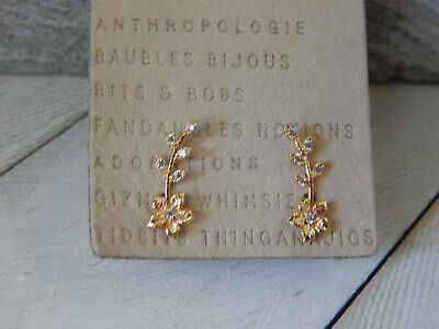 $ CDN32.75 • Buy Earrings Delicate Flower Vine Anthropologie Tiny Mini Rhinestone Post New $38