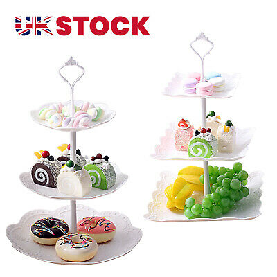 £6.25 • Buy 3 Tier Glass Plastic Cake Stand Afternoon Tea Wedding Plates Party Tableware UK