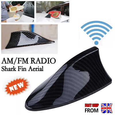Carbon Fiber Look Shark Fin Aerial Antenna Roof AM FM Radio Signal For BMW VW UK • 9.69£