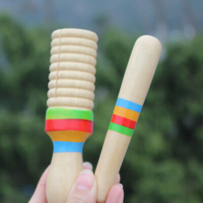Kids Wooden Sound Tube Rhythm Stick Percussion Instrument Toddler Music Toy SI • 2.98£