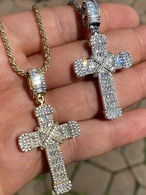 $58.48 • Buy Solid 925 Sterling Hip Hop Baguette Cross Pendant Gold Silver Mens Iced Necklace