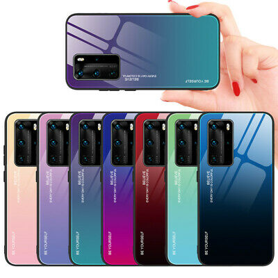 Case For Huawei P40 P30 P20 Mate20 Pro Lite Gradient Tempered Glass Glossy Cover • 3.78£