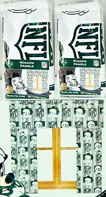 2 Pair Disney Mickey Mouse Curtains Jets Football Green White Fit 36-48in Window • 15.42£