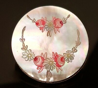 $85 • Buy Antique Button…Large Lovely Carved & Painted Pearl, Set In Metal