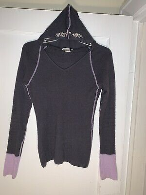 $38.50 • Buy FITIGUES Womens CASHMERE Hoodie Sweater Gray Purple Sz M.  B092