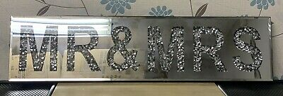 Sparkly Silver Diamante Mirrored Crushed Crystal Diamond Mr & Mrs Wall Art Decor • 44.99£