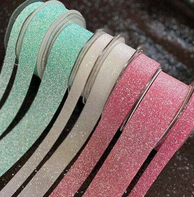 Crystal Glitter Ribbon - White/Pink/Aqua - 38mm/25mm/15mm  • 1.69£