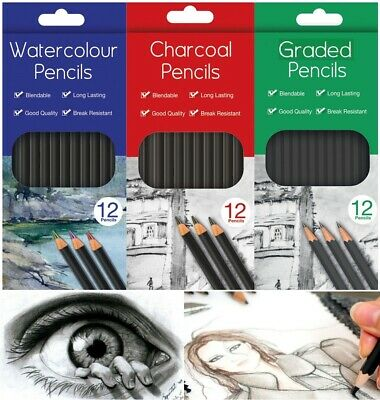 12x Graded Pencils Drawing Sketching Tones Shades Art Artist Picture Pencil Draw • 2.99£