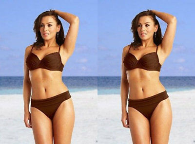 Saress Bikini Set Top Brief Size 12 S M Brown High Waist Underwired Balcony Bra • 7.89£