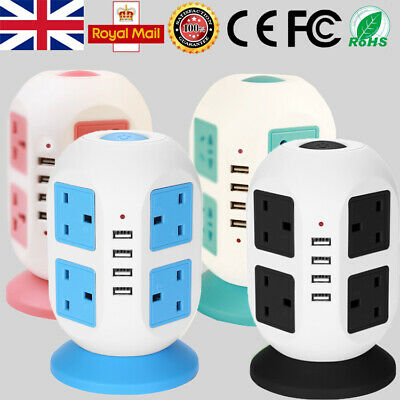 8 Way Switched Surge Protected Tower Extension Lead UK Mains Plug Socket 4 USB • 19.93£