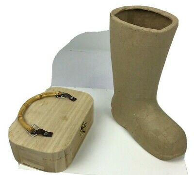 $12.40 • Buy Lot Of Paper Mache Craft Boot And Wooden Handle Craft Printable Box
