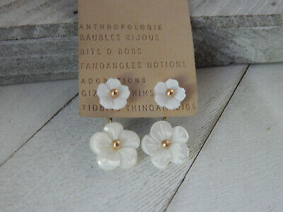 $ CDN32.75 • Buy Earrings Front Back Flower Anthropologie White Small Resin New With Tag $48