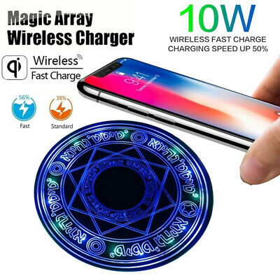 $ CDN10.59 • Buy Fast Qi Wireless Charger Stand Dock Glowing Magic Array Pad 10W For IPhone