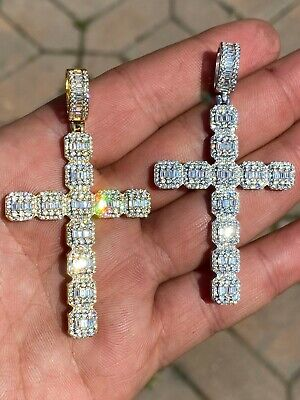 $52.18 • Buy Mens 925 Sterling Baguette Diamond Cross Pendant Iced Gold Silver Necklace BIG