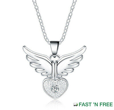 £3.79 • Buy Quality 925 Sterling Silver Angel Wing HeartCrystal Gem Pendant NecklaceUK NEW