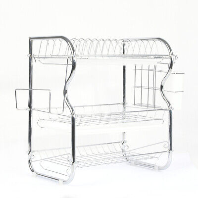 AU34.99 • Buy 3 Tier Stainless Steel Dish Rack Drainer Tray Kitchen Storage Cup Cutlery Holder