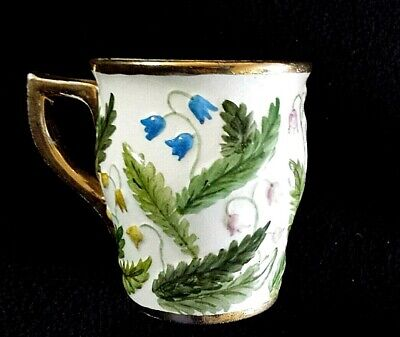 Avon Ware Hand Painted M H Coffee Cup Mug Multi Colour Bell Shape Flowers C1950 • 14.99£