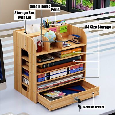 AU36.09 • Buy Office Desk Wooden A4 Size File Organiser Brush Storage Container Pen Holder DIY