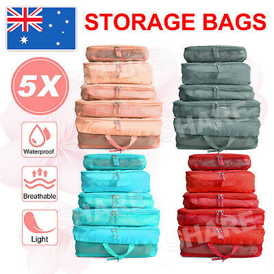 AU8.85 • Buy 5Pcs Packing Cubes Cube Travel Pouches Luggage Organiser Suitcase Storage Bags