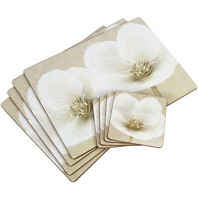 £13.99 • Buy Set Of 4 Placemats & Coasters Table Place Settings Mats Beige Floral Flower
