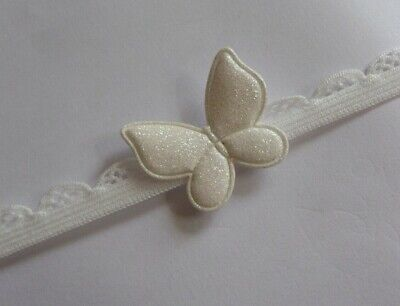 Baby Headband Ivory Lace Elastic Small Ivory Glitter Butterfly  All Sizes • 0.99£