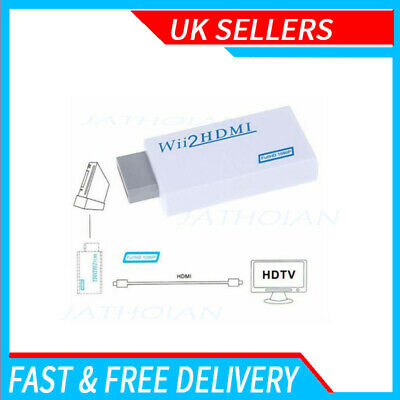 1X Wii Input To HDMI 1080P HD Audio Output Cable 3.5mm Jack Converter Adapter • 5.99£