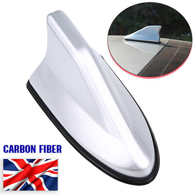Carbon Fiber Style Shark Fin Aerial Antenna Roof AM/FM Radio Signal Rubber Base • 10.99£