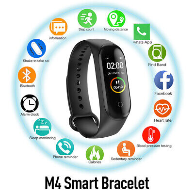 $ CDN10.44 • Buy M4 Smart Watch  Heart Rate Blood Pressure Monitor Tracker Fitness Wristband US