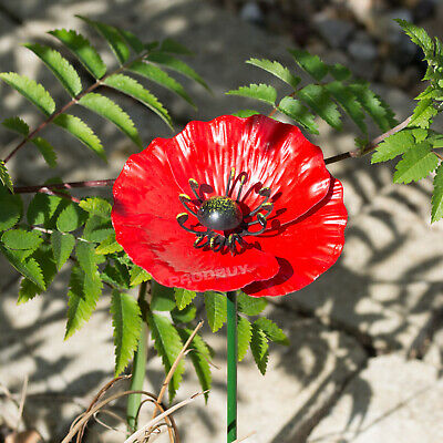 £9.99 • Buy Small Red Poppy Flower 44cm Garden Stake Ornament Outdoor Lawn Sculpture Decor