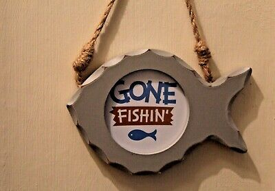 £5.99 • Buy Gone Fishing Sign Fish Shaped Wooden Frame Fathers Day Gift Gisela Graham