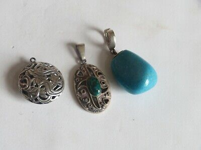 $ CDN39.62 • Buy Sterling Silver Jewelry Lot Vintage Turquoise Pendants + (272B)
