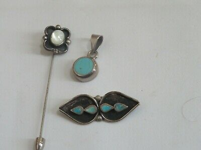 $ CDN48.97 • Buy Vintage Jewelry Lot STERLING SILVER Turquoise Pendant Stick Pin & More (277B)