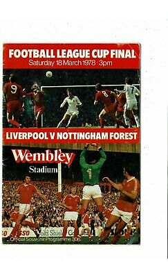 1978 Liverpool V Nottingham Forest League Cup Final Football Programme • 1.25£