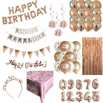 £4.99 • Buy Rose Gold Happy Birthday Bunting Banner Decorations Balloons Confetti Foil