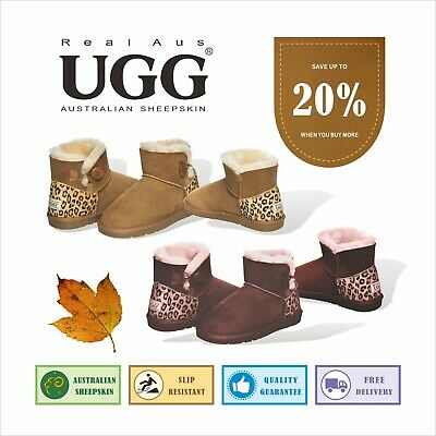 AU49.90 • Buy Ugg Real Aus One Button Leopard Pattern Chestnut/Chocolate 5 6 7 8 9 10