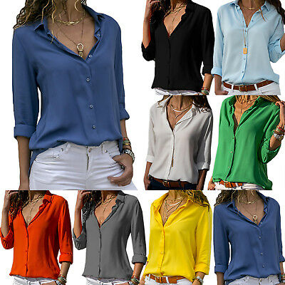 AU24.19 • Buy Womens Long Sleeve V Neck Casual OL Work Blouse T-Shirt Shirts Office Tops 8-18