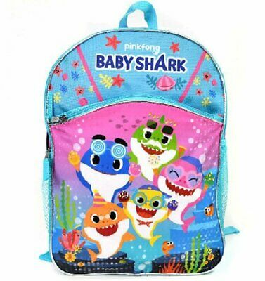 $12.95 • Buy Pinkfong Baby Shark 16  Large 2-Compartment Backpack With Side Pockets, Blue