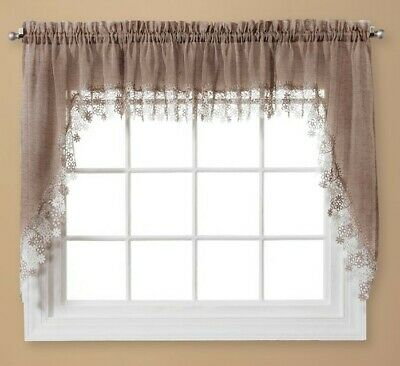 $11.99 • Buy Lillian Macrame Embroidered Kitchen Curtain Collection - Linen Color (Brand New)