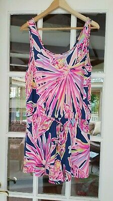$85 • Buy Lilly Pulitzer Tala Romper Indigo Sunseekers Size Large 28064A