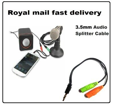 Stereo Headphone Microphone 3.5mm Audio Splitter Cable Adapter Male To 2 Female • 3.45£