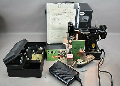 $405 • Buy Vtg SINGER 221-1 Portable Electric Sewing Machine Featherweight W Buttonholer