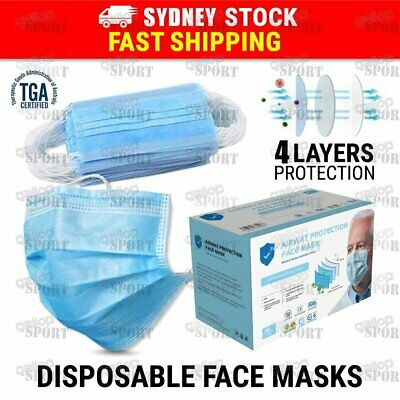 AU20.87 • Buy 50pcs General Face Mask 4 Layer Protective Anti Bacterial Filter Mouth Masks AU