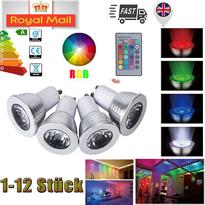 1-12X 3W 16 Color Changing RGB Dimmable LED Light Bulbs GU10 Lamp RC Remote Spot • 10.44£
